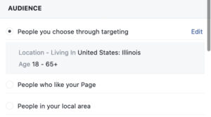 screen shot from Facebook boosting window